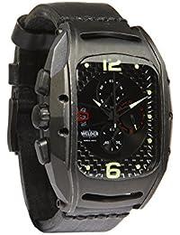 Welder Herren Armbanduhr/Chronograph Analog Quarzuhrwerk schwarzes Zifferblatt braunes Lederband K42-801