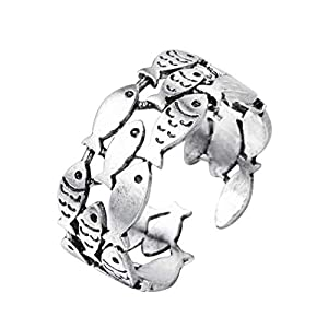 Chandler Sommerfisch Antiker Damenring Ozean, Tier, Schwimmen niedlich, für Mädchen, Bohemian-Stil, Silberschmuck, Verstellbarer Fingerring für Hochzeit