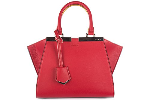 Fendi-womens-leather-handbag-shopping-bag-purse-mini-3jours-red
