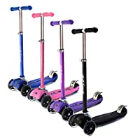 La Sports V2 3 Three Wheel Tri Scooter for Kids Childrens Boys & Girls, Flashing LED Wheels Foldable Adjustable Height Age 6 7 8 9 10 11, In Blue Pink Purple & Black