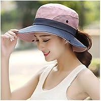 Fengdp Sombra Señoras de la Cola de Caballo Sombrero Protección UV UPF Verano del Borde Ancho Transpirable Sombrero for el Sol al Aire Libre Senderismo Pesca Cubo Impermeable Sombrero de Boonie niña