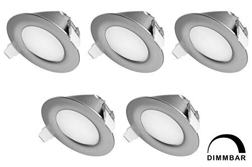 TEVEA - IP44 LED Spot Encastrable | aussi pour salle de bains | Dimmable | 6W 230V | Lot de 5 Spots (Gris - Blanc Chaud)