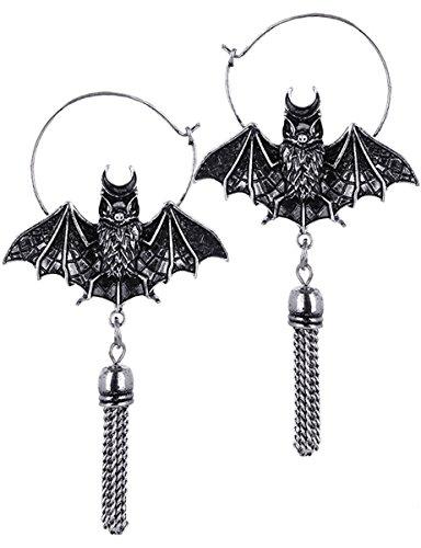 Kostüm Witchy Hexe - Dark Dreams Gothic Witchy Hexe Ohrringe Ohrhänger Fledermaus okkult Vampir Oriental Bat Earrings silver silberfarben