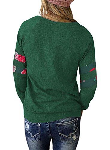 Aitos Oberteile Tops Frauen Langarmshirt Blumenmuster Rose Rundhals Damen Bluse Pullover T Shirt Basic Casual Grün