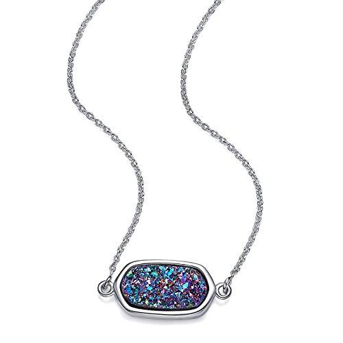 ((GTC-zertifiziert)Natürlichen Drusen Schmuck- 18k goldlegiertes Messing Halskette Damen- Geschenkbox und einer inspirierenden Karte- Geschenk für Frauen/ Damen)