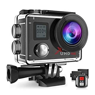 Campark Action Camera 4K Wifi 16MP Underwater Waterproof Cam 170° Wide-Angle Sports Cameras with Remote Control 2 Batteries and Mounting Accessory Kits
