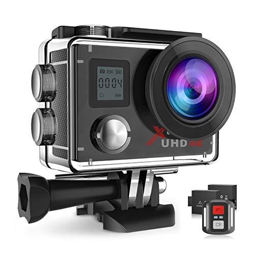 Campark ACT76 Action Camera es el modelo de actualización del ACT74. Incluye 2 baterías, caja de paquete portátil y kits de accesorios   Descripción: Especificaciones: Pantalla: 2 pulgadas LCD Resolución de pntalla: 960 x 240 Pixels Formato de fot...