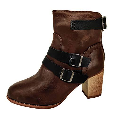 Frauen Solide Runde Kappe Größe Schnalle Reißverschluss Mitte Ferse Stiefel Schuhe