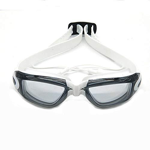 Schwimmbrillen,für Männer Frauen Mädchen,wasserdichte und beschlagfreie HD-Kinder-mit Ohrenstöpsel-Schutzbrille, weiß,Schwimmbrille mit Antibeschlag und UV Schutz -