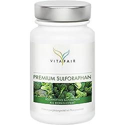 Sulforaphan | 45mg pro Tagesdosis | 100 Kapseln | Hochdosiert aus 450mg Brokkoli-Extrakt | Vegan | Ohne Magnesiumstearata | Made in Germany