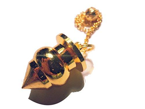 Pendolo di metallo per radiestesia esoterismo (tipo 35 grosso birillo color oro)