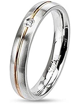 Paula & Fritz® Band Ring aus Chirurgenstahl Edelstahl 316L mit Streifen Roségold und einzelnem Stein verfügbare...