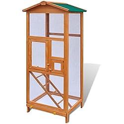 SENLUOWX Cómodas y Seguras Jaula para Pájaros Madera Mantener a Los Animales Pequeños 65x63x165 cm