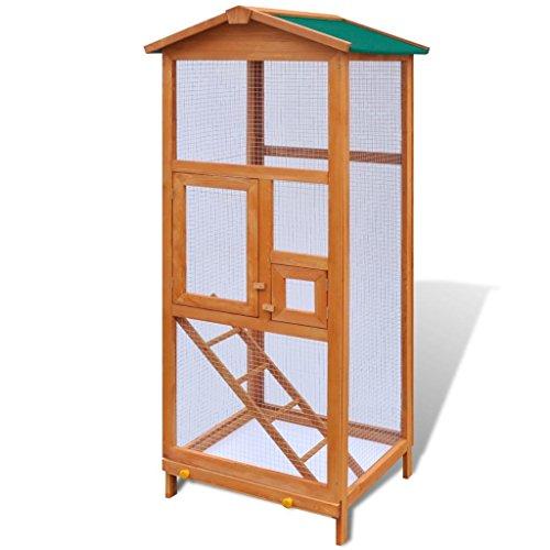 Festnight gabbia in legno per uccelli/voliera gabbia da esterno 65x63x165 cm