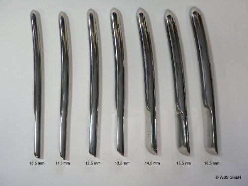Dilatator, Hegar, Bougie aus Edelstahl, 1 Stück in der gewählten Größe, 10,5 - 16,5 mm