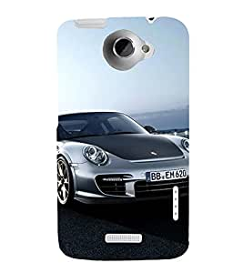 Black and Grey Speeding Sports CAR 3D Hard Polycarbonate Designer Back Case Cover for HTC One X :: HTC One XT :: HTC 1X