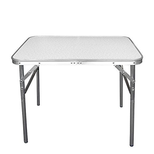 Wohaga Balkonmöbel Campingmöbel Set 4tlg. Aluminium Klapptisch 55x75cm + 3X Campingstuhl, Stone – Sitzgruppe Campinggarnitur Gartenmöbel