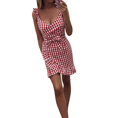 9391d170fc8 Honestyi Vestido de Mujer A Cuadros con Volantes en el Hombro Vestido Corto  a Media Pierna