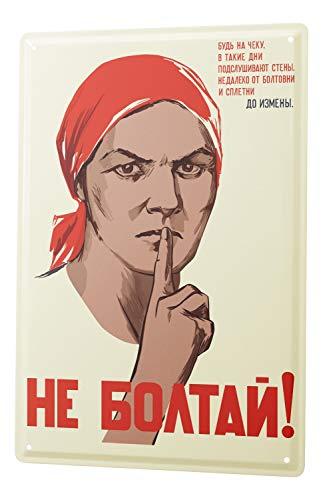 Blechschild Russische Bauersfrau mit roten Kopftuch Zeigefinger vor dem Mund comic cartoons Satire 20x30 cm Metallschild Schild Wanddeko Deko Dekoration Retro Werbung