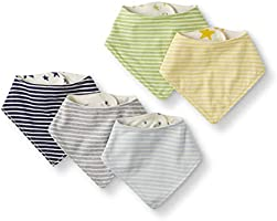 Moon and Back Unisex Baby 5 Pack Reversible Bib