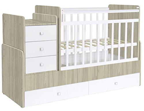 Preisvergleich Produktbild Polini Kids mitwachsendes Baby Kinder Kombi-Kinderbett Simple 1100 mit Kommode (Ulme Weiß)