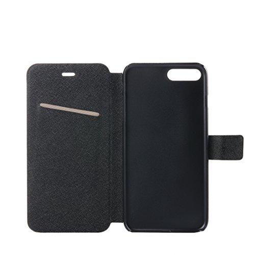 Hülle für iPhone 7 plus , Schutzhülle Für iPhone 7 Plus Silk Texture Horizontale Flip Leder Tasche mit magnetischen Gürtelschnalle & Halter & Card Slots ,hülle für iPhone 7 plus , case for iphone 7 pl Black