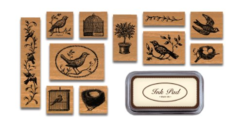 Cavallini & Co. Birds and Nests Designed Stamps Set Includes Wooden Rubber Stamps - Assorted/Ink Pad - Black