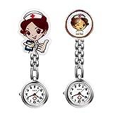 Reloj de Pulsera para Enfermeras de Lancardo, para Mujer, de Bolsillo, analógico, de Cuarzo, de aleación, 2 Unidades