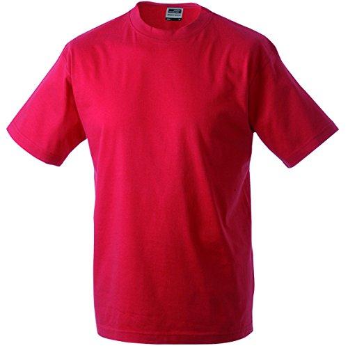 JAMES & NICHOLSON Herren T-Shirt, Einfarbig Rot - Rot