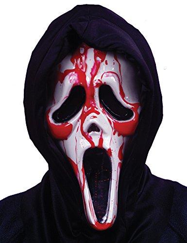 e mit Kunstblut und schwarzer Kapuze - One Size für Erwachsene - Lizenzmaske (Blutende Scream Kostüm)