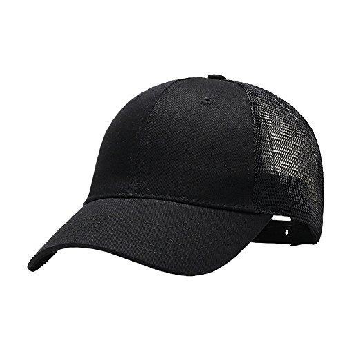 Baumwolle Einstellbar Basecap Frauen Männer Mesh Unstrukturierte Kappen Hut Schwarz