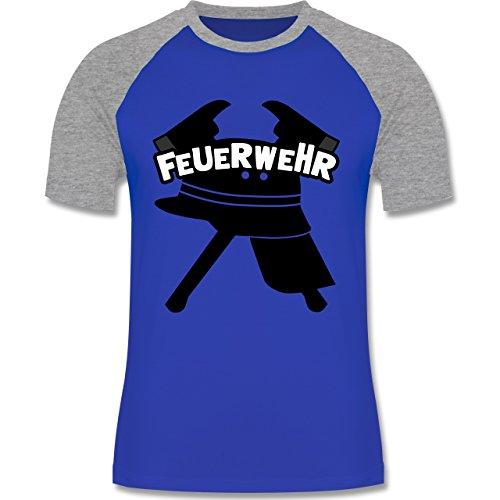 Feuerwehr - Feuerwehr Helm Axt - zweifarbiges Baseballshirt für Männer Royalblau/Grau meliert