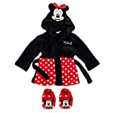 Disney Baby Set Bademantel + Schuhe Mädchen | Motiv: Minnie Mouse | Geschenkset für Neugeborene & Kleinkinder | Größe: schwarz-rot 6-9 Monate (74)