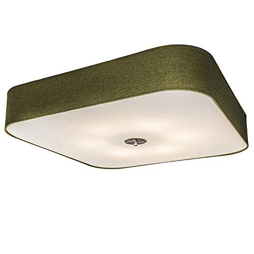QAZQA Landhaus/Vintage/Rustikal/Modern Deckenleuchte/Deckenlampe/Lampe/Leuchte Drum mit Schirm deluxe 70 quadratisch Jute grün/Innenbeleuchtung/Wohnzimmerlampe/Schlafzimmer/Küche Gl