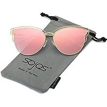 Sojos Gafas De Sol Mujer Fashion Ojo De Gato Marco Metal Lentes De Espejo SJ1049