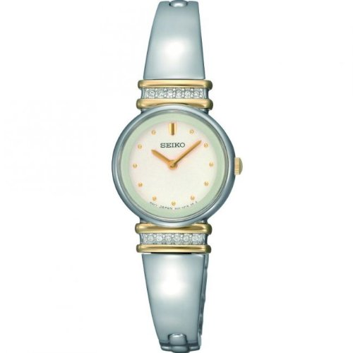 Seiko Women's Quartz Watch with White Dial Analogue Display and Silver Stainless Steel Bracelet SUJG32P9