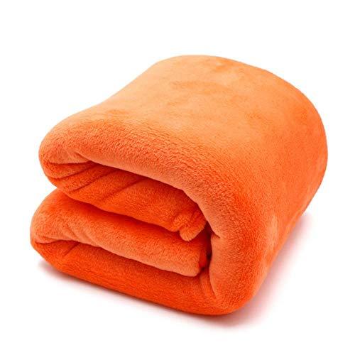 DSHKFD leichte dünne mechanische Wäsche Flanelldecke Plaids super warme weiche Decken werfen auf Sofa/Bett/Reise Patchwork Feste Bettdecke, orange, 100x140cm -