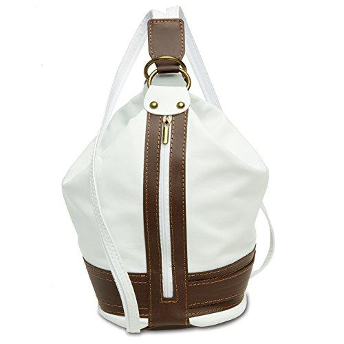 CASPAR TL721 2 in 1 Rucksack Handtasche Schultertasche Daypack aus weichem Nappa Leder, Farbe:weiss;Größe:One Size -