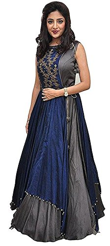 Arawins Women's Clothing Ethnic Gowns For Party Wear Designer Grey Blue Banglori...