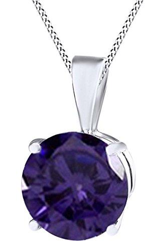 AFFY oro 14 quilates (585) 14 quilates blanco oro redonda Purple alejandrita artificial