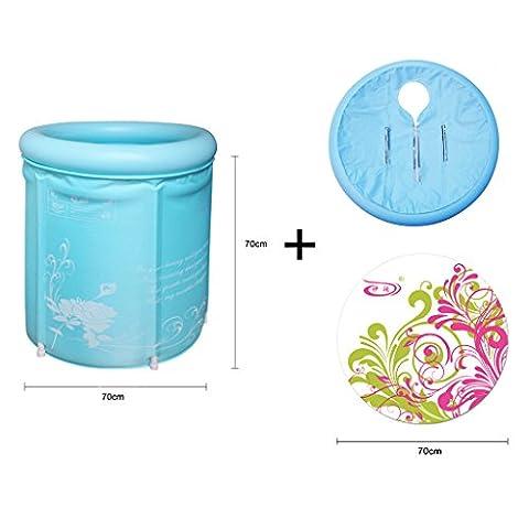 fandbo Badewannen-zusammenklappbar, aufblasbar Badewanne Erwachsene Badewanne Umweltfreundlich Blue 70*70cm+Lid+pad