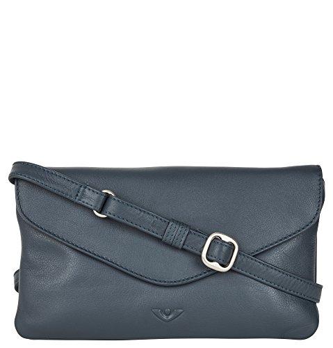 Voi Damen Überschlagtasche Clutch 21502 in Blau aus weichem Soft Leder -