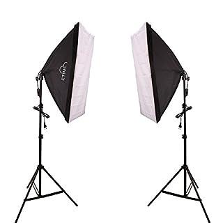 ETiME® 2 x 50 x 70cm Softbox Set Studioleuchte Fotostudio Beleuchtung + 2 X 135W E27 Fotolampen 5500K Tageslicht + 2 X Lampenstativ