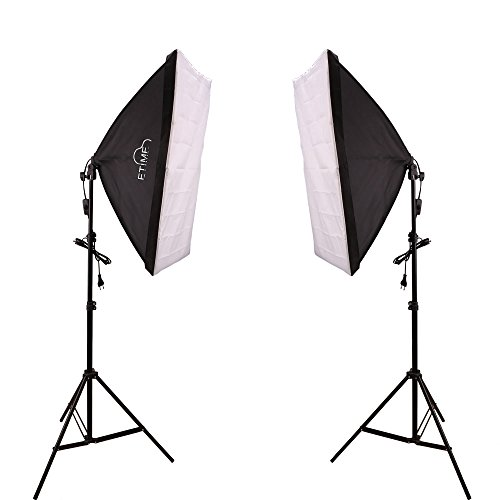 fotostudio lampen ETiME® 2 x 50 x 70cm Softbox Set Studioleuchte Fotostudio Beleuchtung + 2 X 135W E27 Fotolampen 5500K Tageslicht + 2 X Lampenstativ