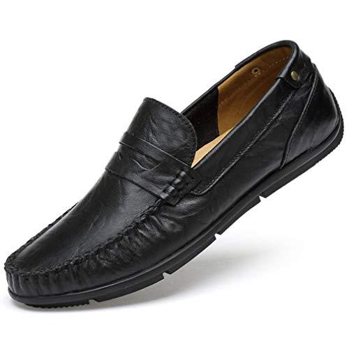 YAN Herren Freizeitschuhe Driving Loafers Junge Mokassins Business Bootsschuhe Echtes Leder Fashion Walking Office Daily Trainer (Farbe : Schwarz, Größe : 43)