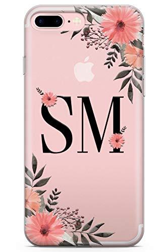 Iphone 7 plus / 8 plus personalizzato gerbera floral iniziali personalizzate caso monogram custodia in gomma tpu case moda testo chiaro rose personalizzato