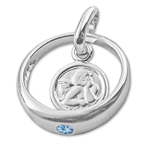 CLEVER SCHMUCK Set Silberner Taufring Engel rund mit Zirkonia hellblau blautopas-farbig und Kette Venezia 36 cm glänzend Sterling Silber 925 - 3