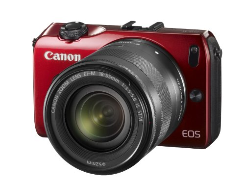 Canon EOS M kompakte Systemkamera (18 Megapixel, 7,6 cm (3 Zoll) Display, Full HD, Touch-Display) Kit inkl. EF-M 18-55mm 1:3,5-5,6 IS STM und Speedlite 90EX rot