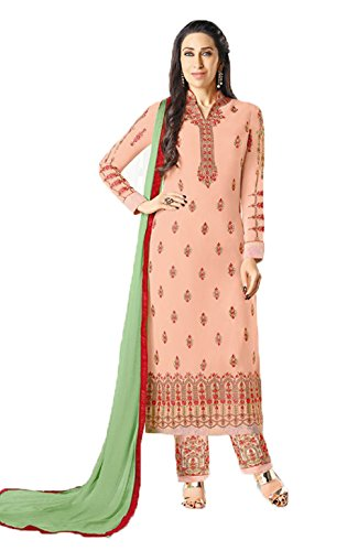 Jesti Designer Women's Faux Georgette Peach Embroidery Gown Latest Party Wear Designe Straight Anarkali Semi Stitched Free Size Salwar Suit Dress Material With Dupatta ( Shuhati-23009 -Dress Material )  available at amazon for Rs.1399