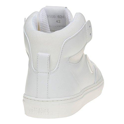 Versace Collection Saddle Branded Hi-Top Homme Baskets Mode Blanc Blanc